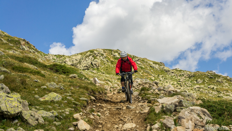Scendendo dal Passo Viola verso la Val di Campo