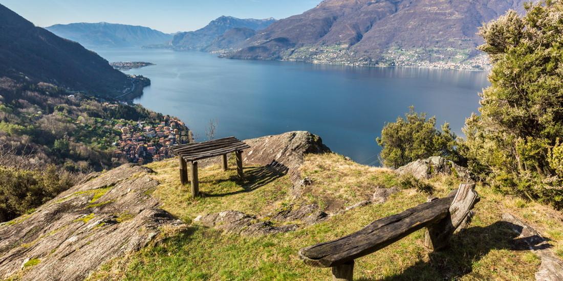Il sentiero del viandante costeggia la sponda orientale del lago di Como prima di giungere in Valtellina